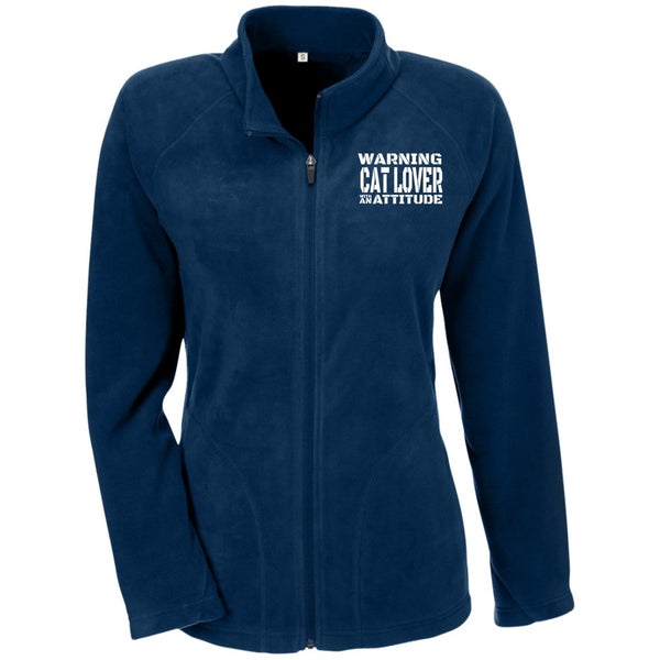 Navy Warning Cat Lover With An Attitude Microfleece