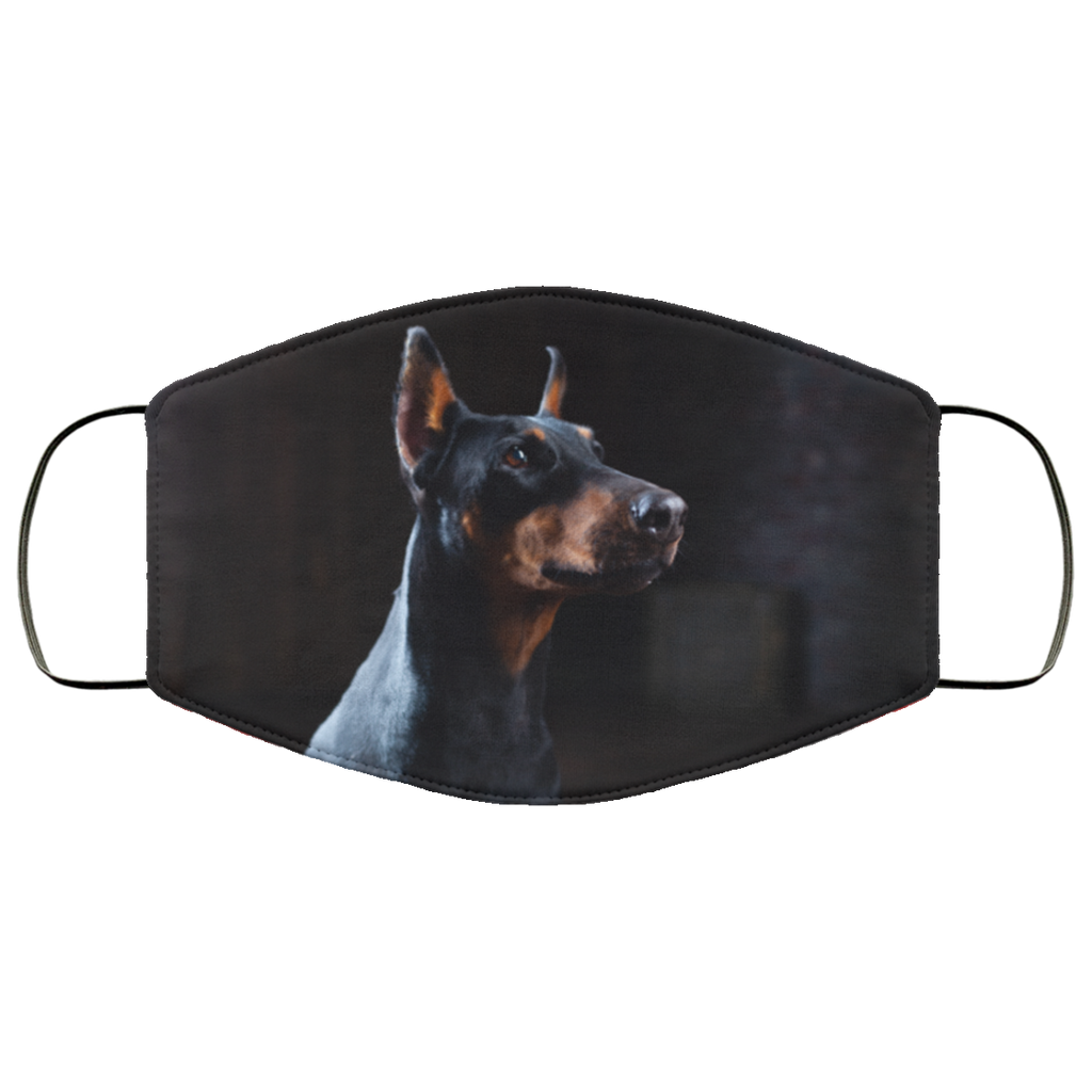 Doberman Portrait Face Mask