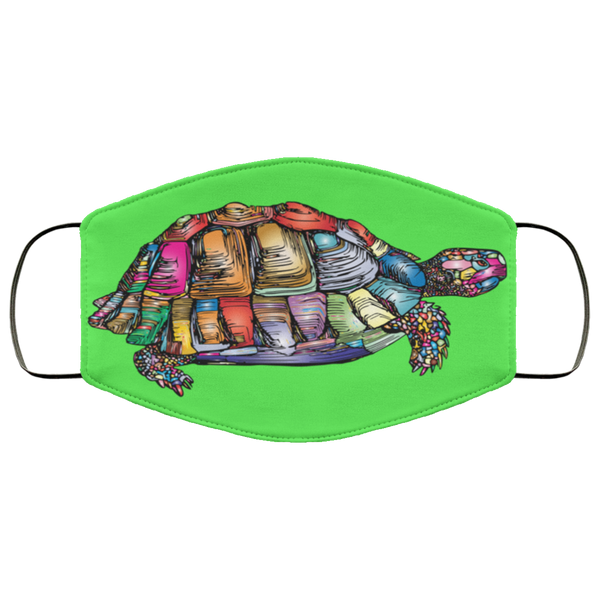 Colorful Turtle Art Face Mask kelly green