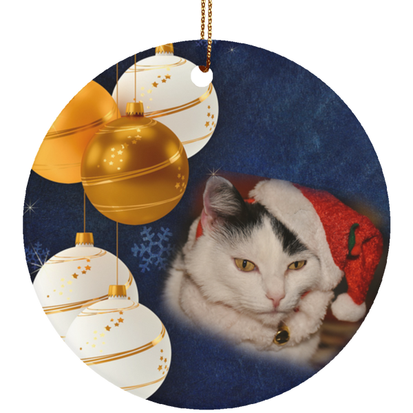 Round green Cat Christmas Ornament