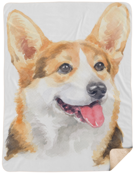 Watercolor Corgi Portrait Sherpa Blanket 60x80