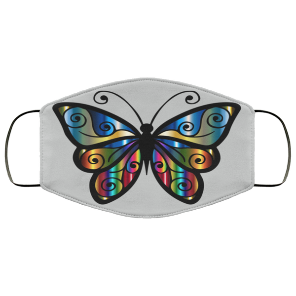 abstract butterfly print face mask silver