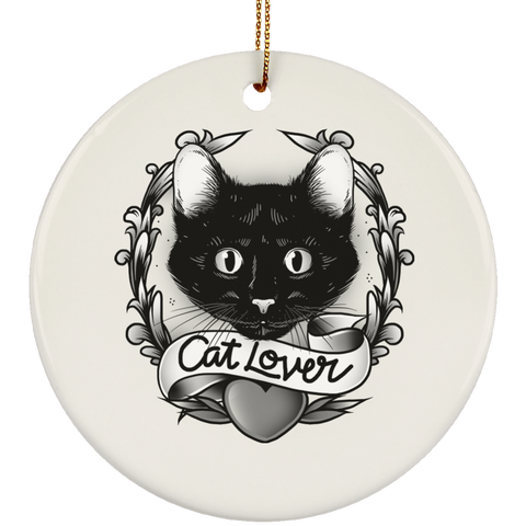 Round White Ceramic Ornament For Cat Lovers