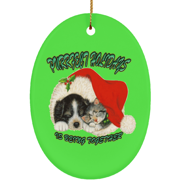 Oval Green Cat Christmas Ornaments - Dog And Cat In Santa Hat - Cat Christmas Tree Ornament
