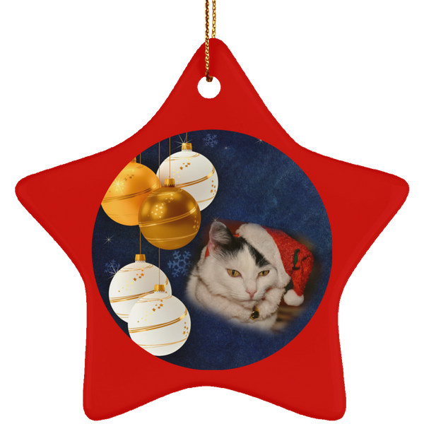 Star red Cat Christmas Ornament