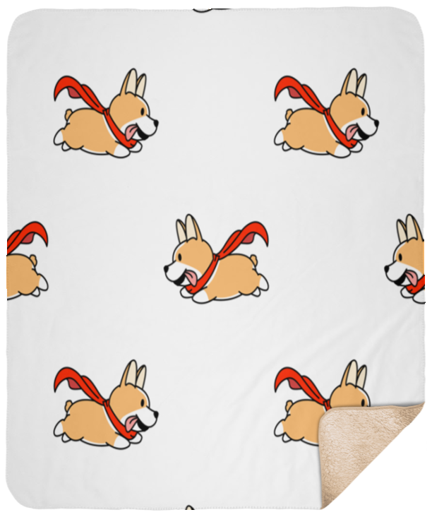 Flying Corgis Sherpa Blanket 50x60