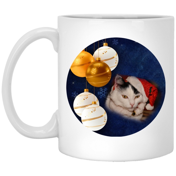11 oz White Ceramic Cat Christmas Mug - Black and White Cat In Santa Hat