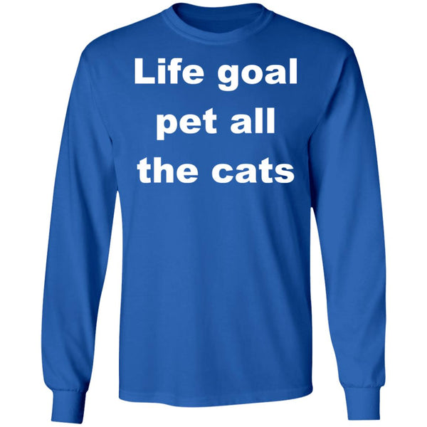 Royal Blue Cat Long Sleeve Shirts - Life Goal Pet All The Cats