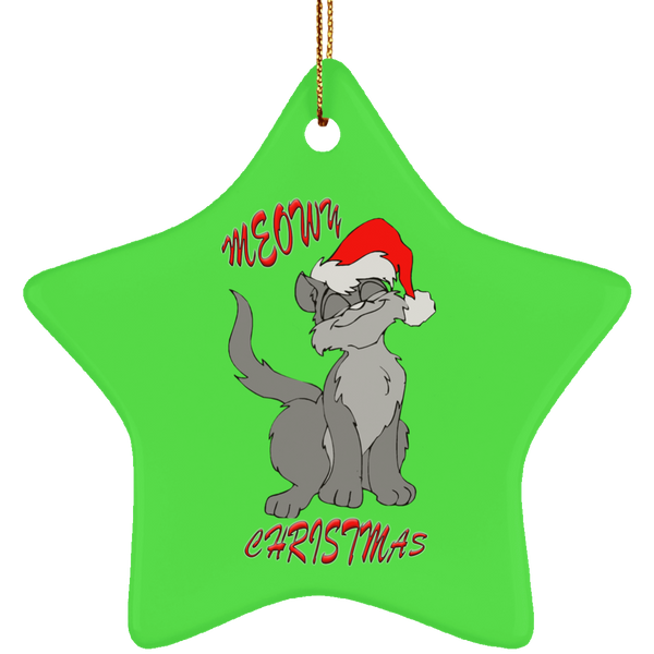 Green Star gray cat christmas ornament