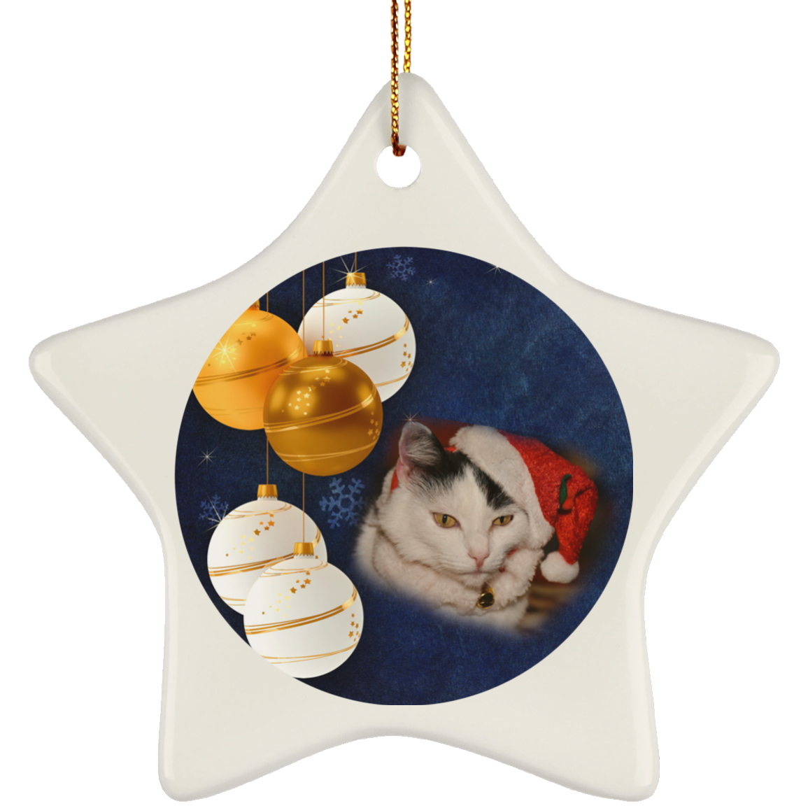 Cat Christmas Ornaments   Black And White Cat In Hat   Ceramic Christmas Ornament