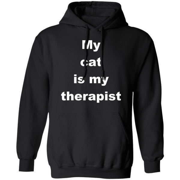 Black Cat Pullover Hoodie - My Cat Is My Therapist