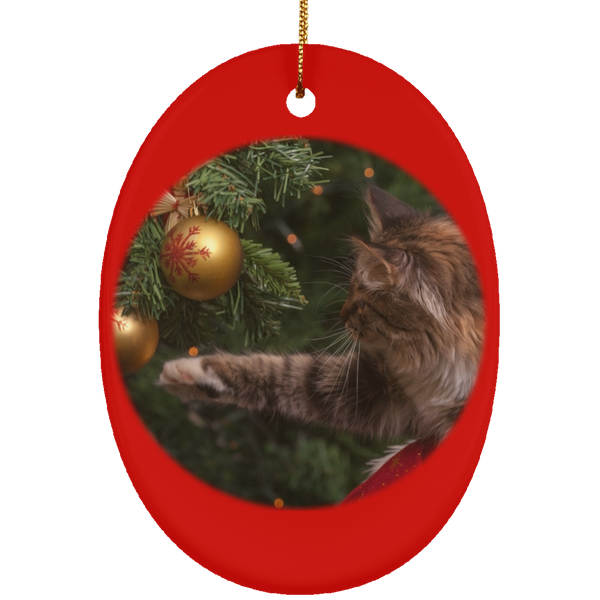 Oval Red Ceramic Cat Christmas Ornament - Cat Christmas Tree Ornament - Cat Ceramic Ornament