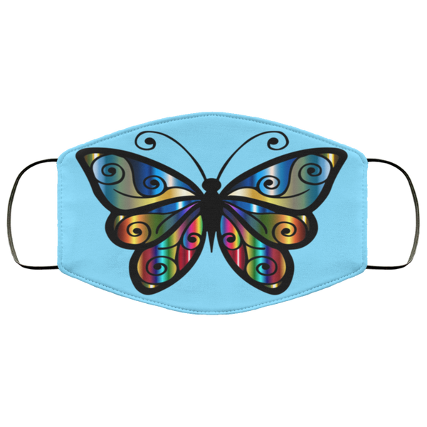 abstract butterfly print face mask columbia blue