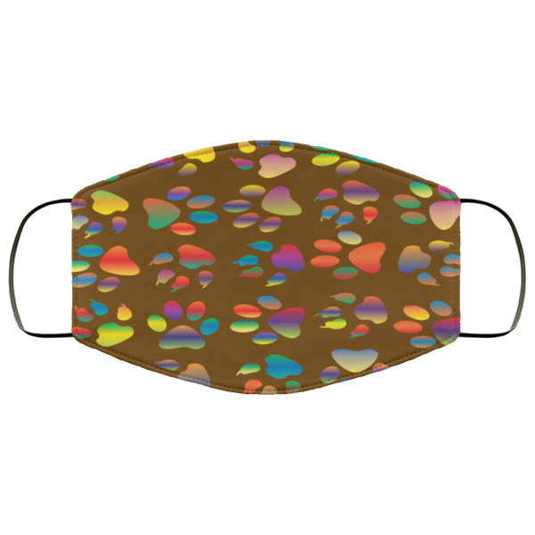 Colorful Paw Prints Face Mask brown