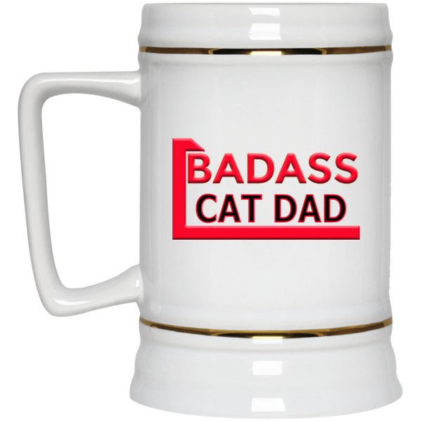 22 oz White Cat Beer Mug Badass Cat Dad