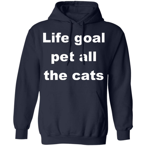 Navy Cat Pullover Hoodie - Life Goal Pet All The Cats