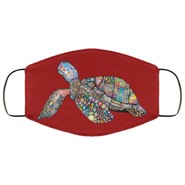 Colorful Sea Turtle Print Face Mask burgundy