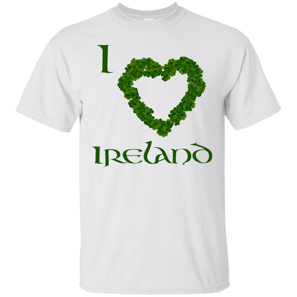 Ireland T-Shirt, I Love Ireland Heart Pattern Shamrocks, St Patricks Day T-Shirt, SS Cotton T-Shirt