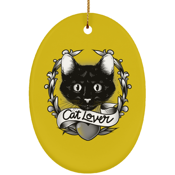 Oval Gold Ceramic Ornament For Cat Lovers