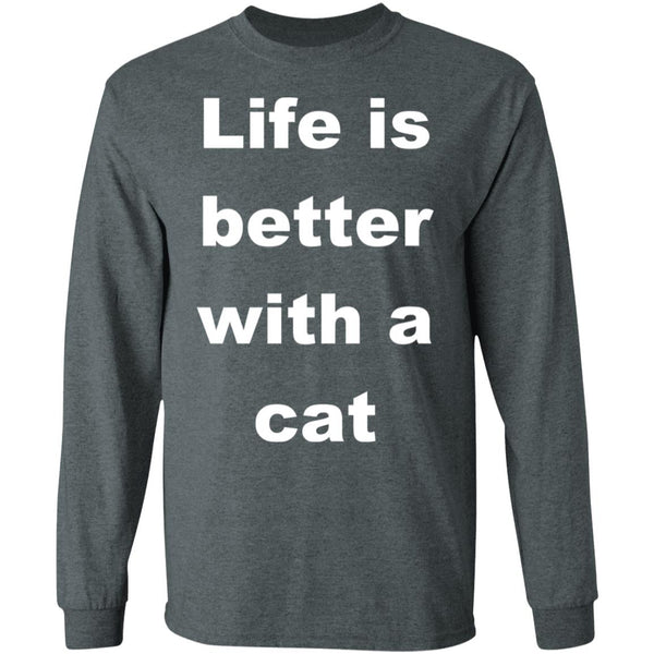 Dark heather Cat Lovers Long Sleeve Shirt - Life Is Better With A Cat