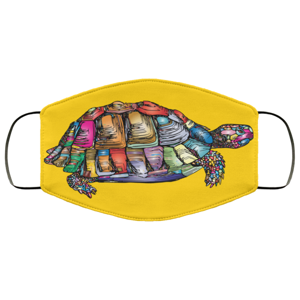 Colorful Turtle Art Face Mask gold