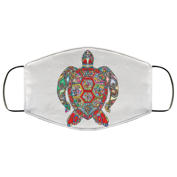 Colorful Sea Turtle Art Face Mask white