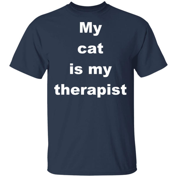Navy Cat Tshirt - My Cat Is My Therapist