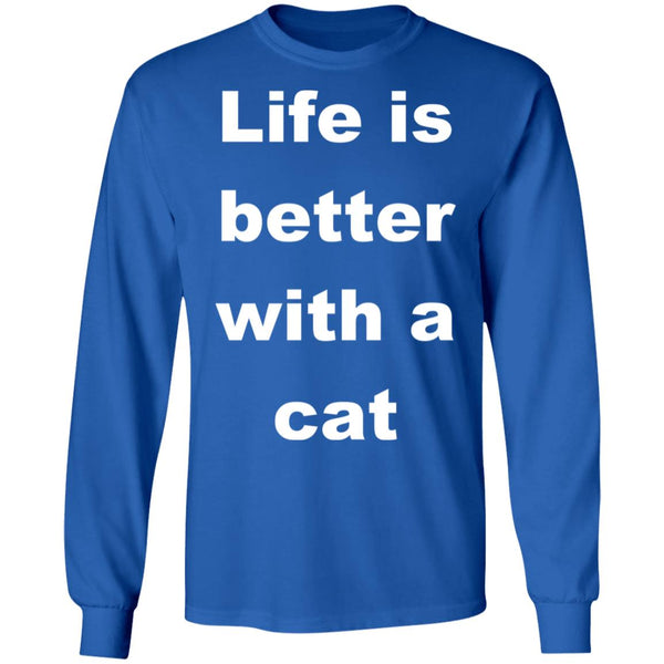 Royal blue Cat Lovers Long Sleeve Shirt - Life Is Better With A Cat