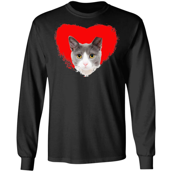 Black Cat Long Sleeve T-Shirt I Love Cats