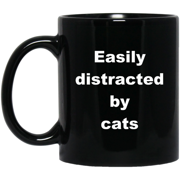 11 oz black Cat Mug Easily Distracted By Cats