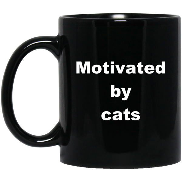 11 oz black Ceramic Cat Mug - Motivated By Cats