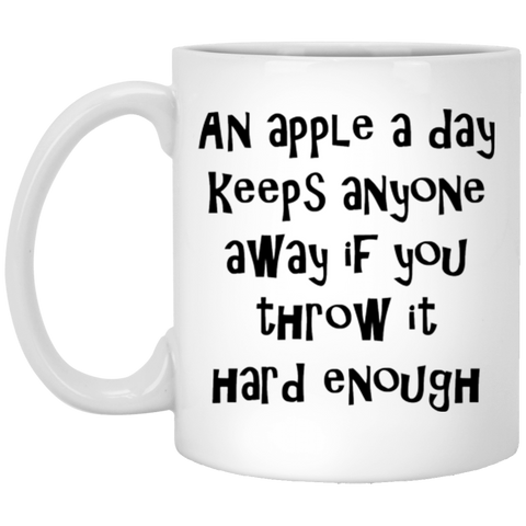 Funny Coffee Mug - An Apple A Day, Funny Ceramic Coffee Mug, Funny Saying, Funny Gift For CoWorker, Gag Gift For Her
