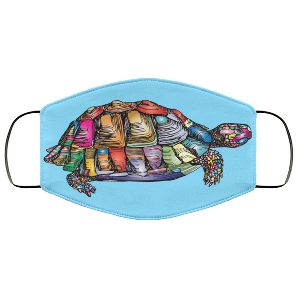 Colorful Turtle Art Face Mask columbia blue