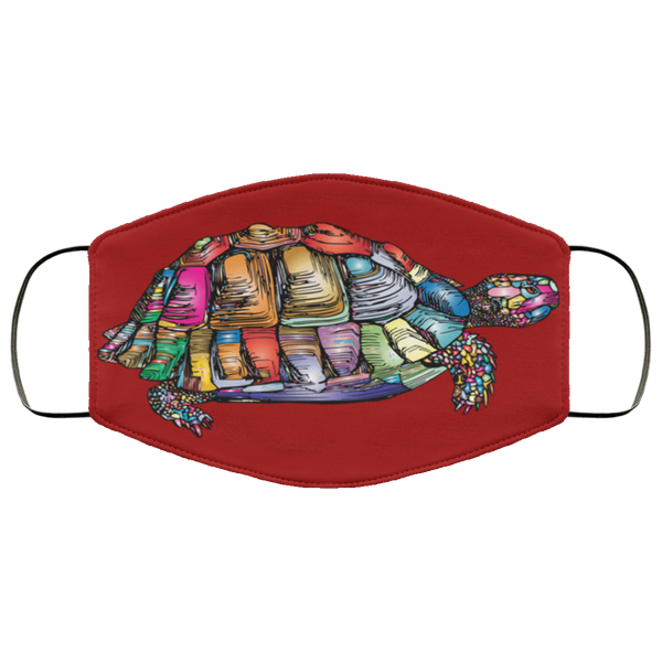 Colorful Turtle Art Face Mask burgundy