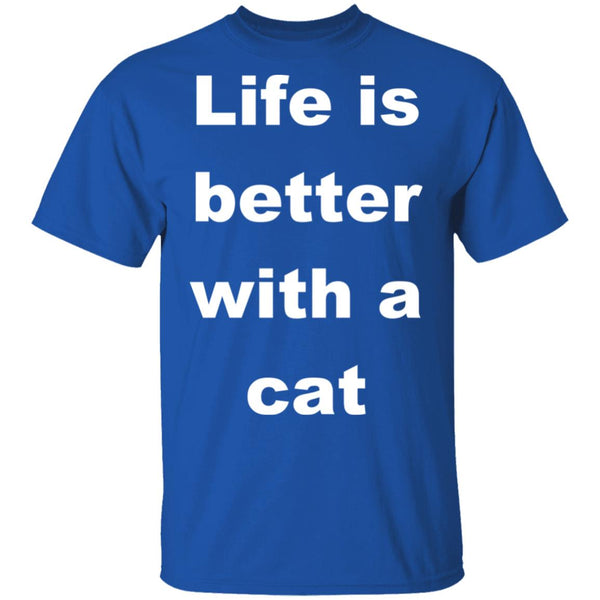 Royal Blue Cat Lovers Shirt - Life Is Better With A Cat
