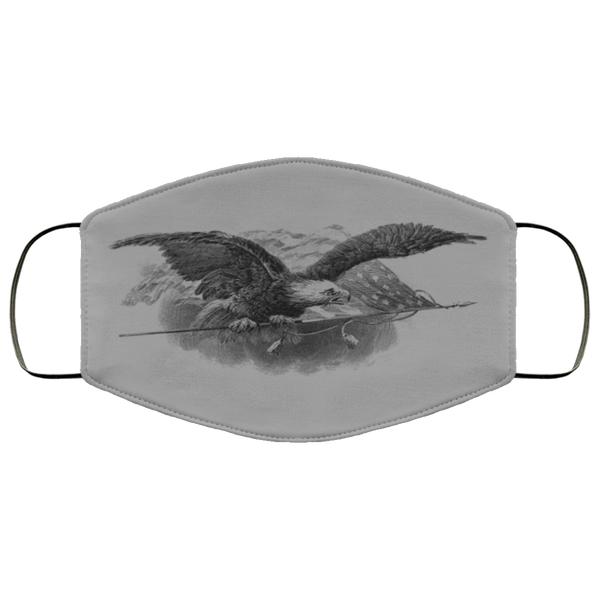 Eagle Pencil Art Face Mask gray