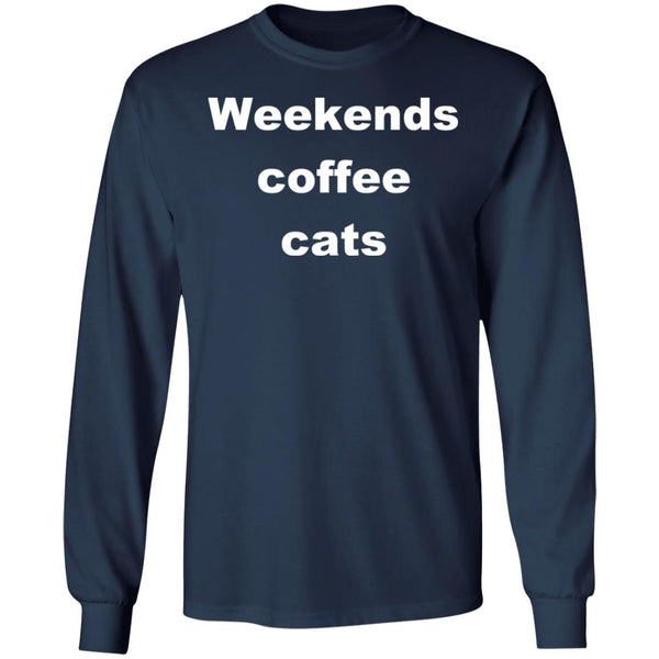 Navy Cat Long Sleeve T-Shirt - Weekends Coffee Cats