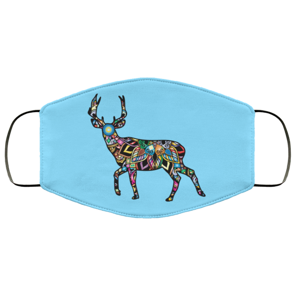 colorful deer print face mask columbia blue