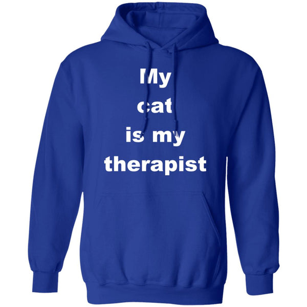 Royal Blue Cat Pullover Hoodie - My Cat Is My Therapist
