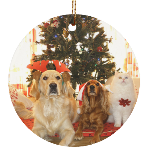 White Round Pet Christmas Ornament