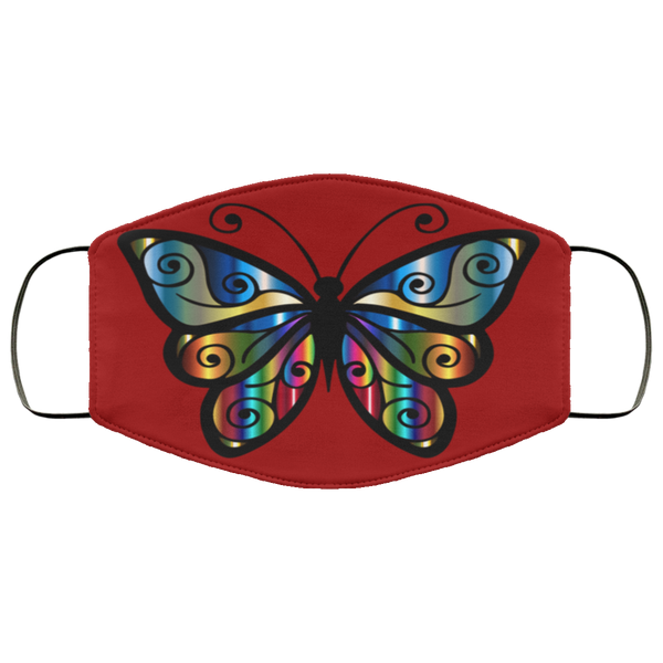 abstract butterfly print face mask burgundy