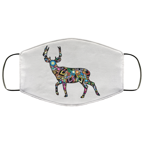 colorful deer print face mask white