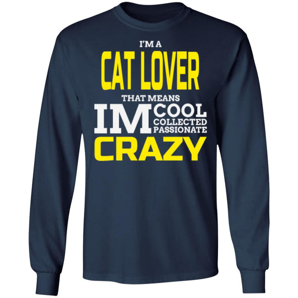 navy Cat Gift Long Sleeve T-Shirt