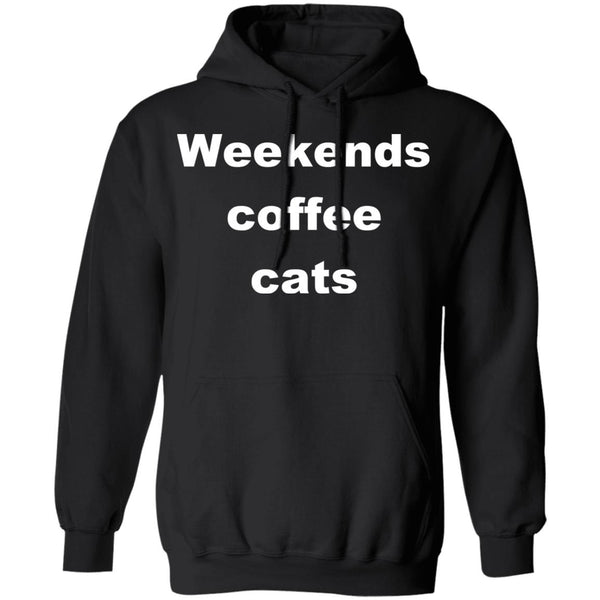 Black Cat Pullover Hoodie - Weekends Coffee Cats