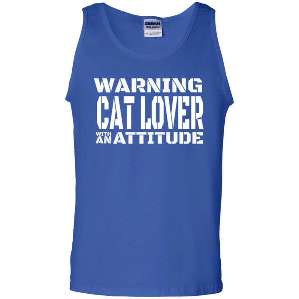 Royal Blue Cat Lover Tank Top - Warning Cat Lover With An Attitude