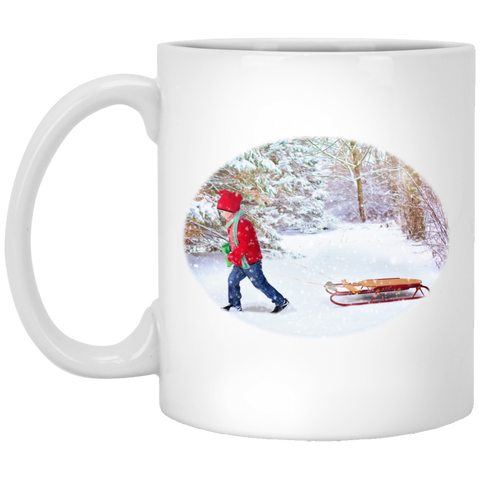 Christmas Morning Mug - Winter Scene Child and Sleigh - Coffee Mug