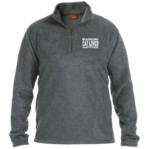 grey Warning Cat Lover With An Attitude Zip Fleece Pullover