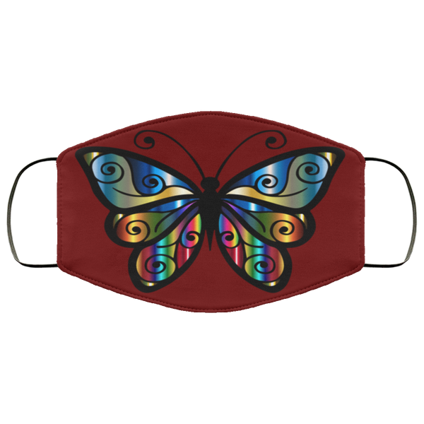 abstract butterfly print face mask maroon