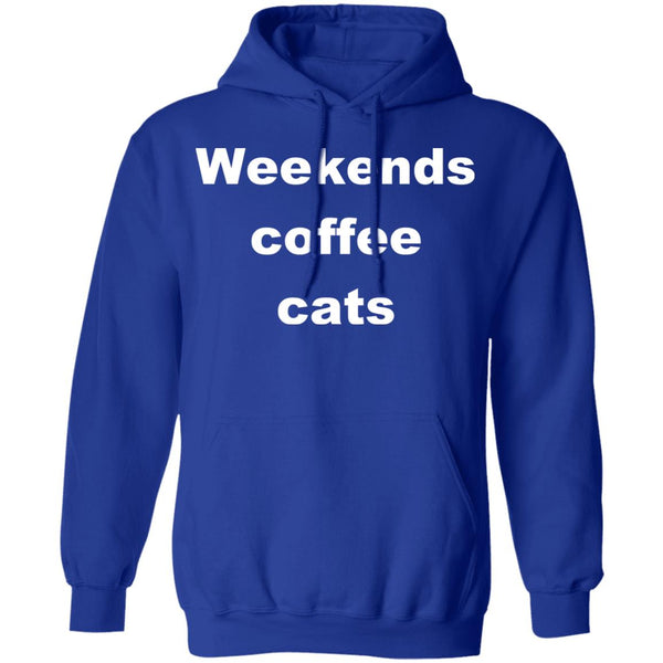Royal Blue Cat Pullover Hoodie - Weekends Coffee Cats