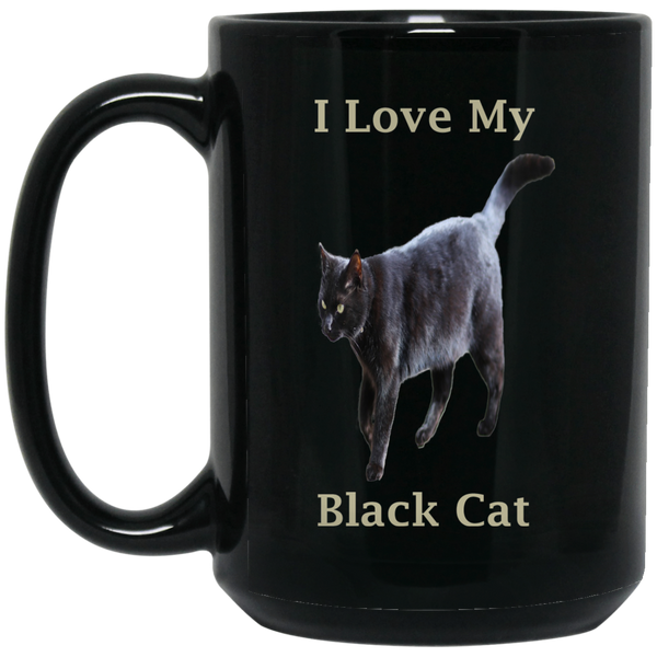 15 oz Black Coffee Mug Gift For Cat Lovers